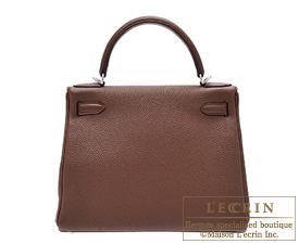 Hermes Kelly bag 28 Brulee Togo leather Silver hardware