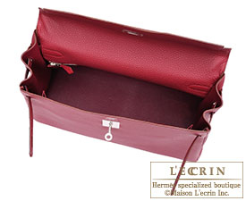 Hermes Kelly bag 35 Ruby Togo leather Silver hardware