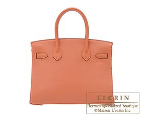 Hermes Birkin bag 30 Rose tea Clemence leather Gold hardware