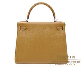 Hermes Kelly bag 28 Kraft Clemence leather Silver hardware