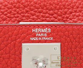 Hermes Kelly bag 28 Rouge casaque Clemence leather Silver hardware