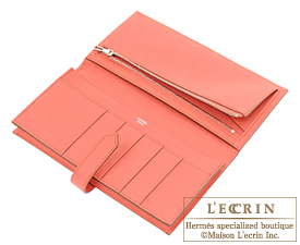 Hermes Bearn Soufflet Flamingo Epsom leather Silver hardware