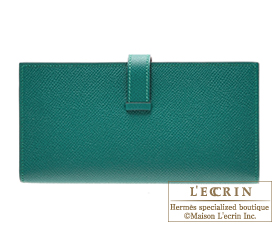 Hermes Bearn Soufflet Malachite Epsom leather Silver hardware