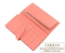 Hermes Bearn Soufflet Rouse casaque/Flamingo Epsom leather Silver hardware