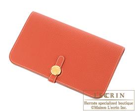 Hermes Dogon GM Sanguine/Blood orange Togo leather Gold hardware