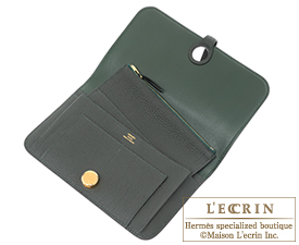 Hermes Dogon GM Vert gris/Green grey Togo leather Gold hardware