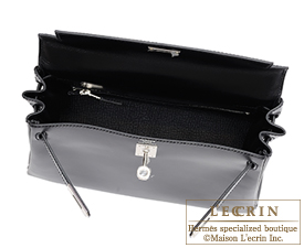 Hermes Kelly bag 25 Black Box calf leather Silver hardware