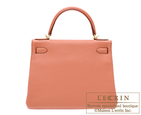 Hermes Kelly bag 28 Rose tea Clemence leather Gold hardware