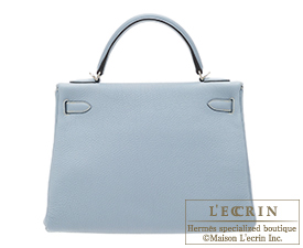 Hermes Kelly bag 32 Blue lin/Linen blue Togo leather Silver hardware