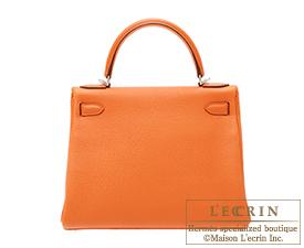 Hermes Kelly bag 28 Orange Togo leather Silver hardware