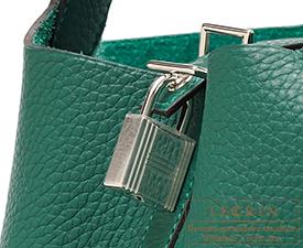 Hermes Birkin bag 30 Malachite Clemence leather Silver hardware