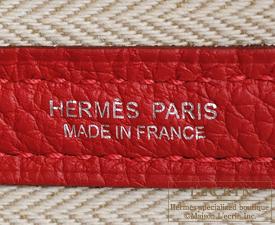 Hermes Garden Party bag TPM Rouge piment Negonda leather Silver hardware