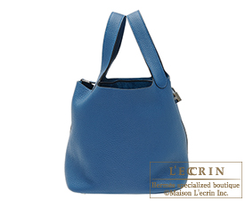 Hermes Picotin Lock bag MM Blue de galice Clemence leather Silver hardware