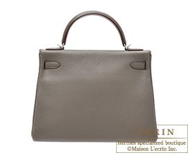 Hermes Kelly bag 32 Retourne Etain/Etain grey Clemence leather Silver hardware