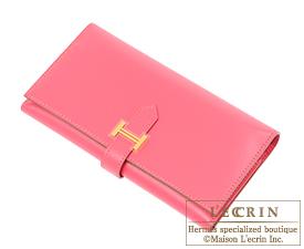 Hermes Bearn bi-fold wallet Rose lipstick Tadelakt leather Gold hardware
