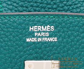 Hermes Birkin bag 25 Malachite Togo leather Silver hardware