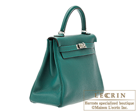 Hermes Kelly bag 32 Retourne Malachite/Malachite greenClemence leather Silver hardware