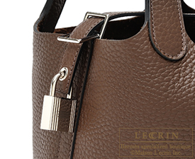 Hermes Picotin Lock bag PM Cacao Clemence leather Silver hardware