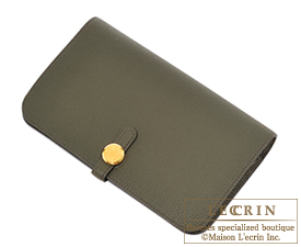 Hermes Dogon GM Canopee/Canopee green Togo leather Gold hardware
