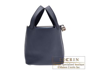 Hermes Picotin Lock bag PM Bleu obscur Clemence leather Silver hardware