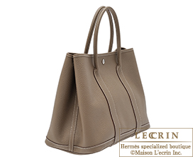Hermes Garden Party bag TPM Etoupe grey Country leather Silver hardware