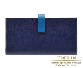 Hermes Bearn Soufflet Bi-color Blue saphir/Blue izmir Epsom leather Silver hardware