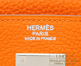 Hermes Kelly bag 32 Orange Togo leather Silver hardware