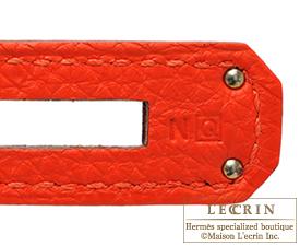 Hermes Kelly bag 32 Capucine/Capucine orange Togo leather Silver hardware