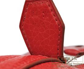 Hermes Bolide bag 31 Rouge garance Clemence leather Silver hardware
