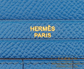 Hermes Bearn Soufflet Blue izmir Epsom leather Gold hardware