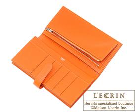 Hermes Bearn Soufflet Orange Chevre myzore goatskin Silver hardware