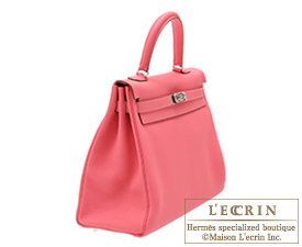 Hermes Kelly bag 35 Rose lipstick Togo leather Silver hardware