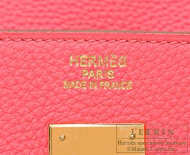 Hermes Birkin bag 40 Rose lipstick Togo leather Gold hardware