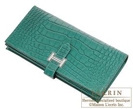 aecc0b3e193f ... Hermes Bearn Soufflet Malachite Matt alligator crocodile skin Silver  hardware