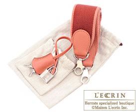 Hermes Kelly Amazon bag 32 Retourne Rose tea Clemence leather Silver hardware