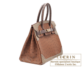 ... Hermes Birkin Ghillies bag 30 Marron fonce Etrusque Mousse Ostrich  leather Champagne gold hardware 253d14f1416