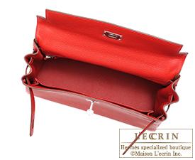 Hermes Kelly bag 32 Vermillon Togo leather Silver hardware