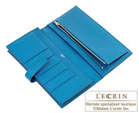 Hermes Bearn Soufflet Blue izmir Epsom leather Silver hardware