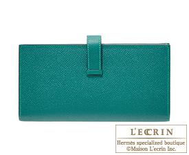 Hermes Bearn Soufflet Malachite Epsom leather Gold hardware