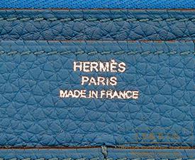 Hermes Dogon GM Blue de galice Togo leather Silver hardware