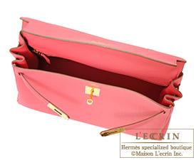 Hermes Kelly bag 35 Rose lipstick Togo leather Gold hardware