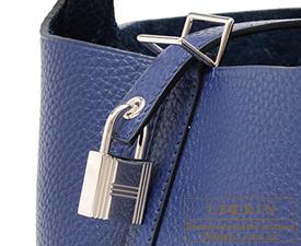 Hermes Birkin bag 30 Blue saphir Clemence leather Silver hardware