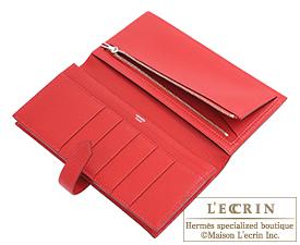 Hermes Bearn Soufflet Rouge casaque Chevre myzore goatskin Silver hardware
