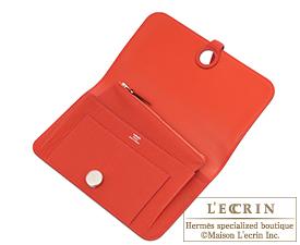 Hermes Dogon GM Vermillon Togo leather Matt silver hardware