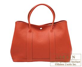 Hermes Garden Party bag PM Sanguine Negonda leather Silver hardware