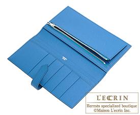 Hermes Bearn bi-fold wallet Blue saphir/Blue izmir Epsom leather Silver hardware