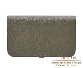 Hermes Dogon GM Olive green Togo leather Silver hardware