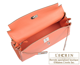 Hermes Kelly bag 32 Crevette Clemence leather Silver hardware