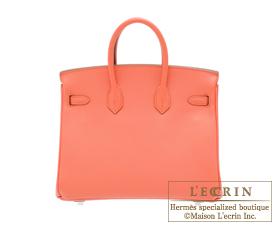 Hermes Birkin bag 25 Flamingo Togo leather Silver hardware