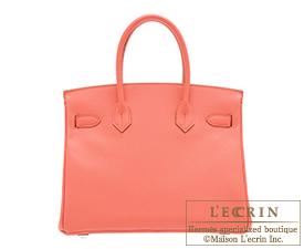 Hermes Birkin bag 30 Flamingo Epsom leather Silver hardware